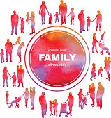 Frame with family silhouettes and watercolor effect. Vector.