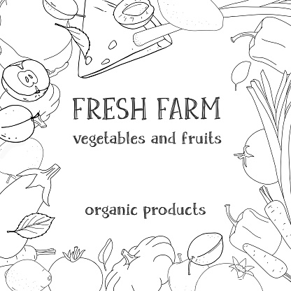 Frame with farm vegetables and fruits. Black outline on a white background. Template.