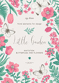 Little Little garden. Floral card with flowers and butterflies. Vector botanical illustration.