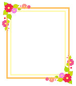Frame with flowers with summer or spring season concept decor elements, blossoms and leaves in angles vector illustration isolated on white background