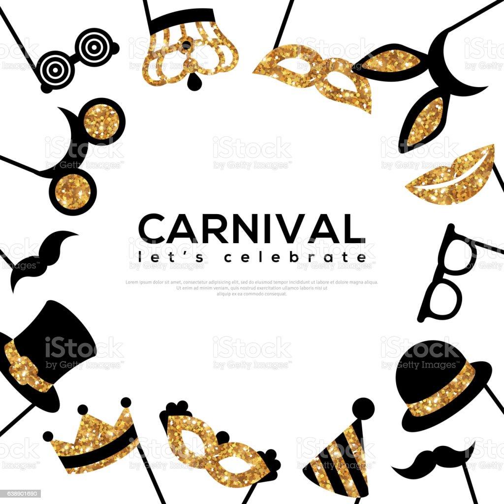 Frame with Golden Carnival Masks vector art illustration