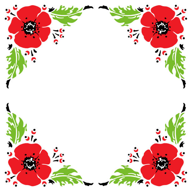 Royalty free silhouette of the how to draw poppy flowers clip art frame with hand drawn sketch of red poppies vector illustration vector art illustration mightylinksfo