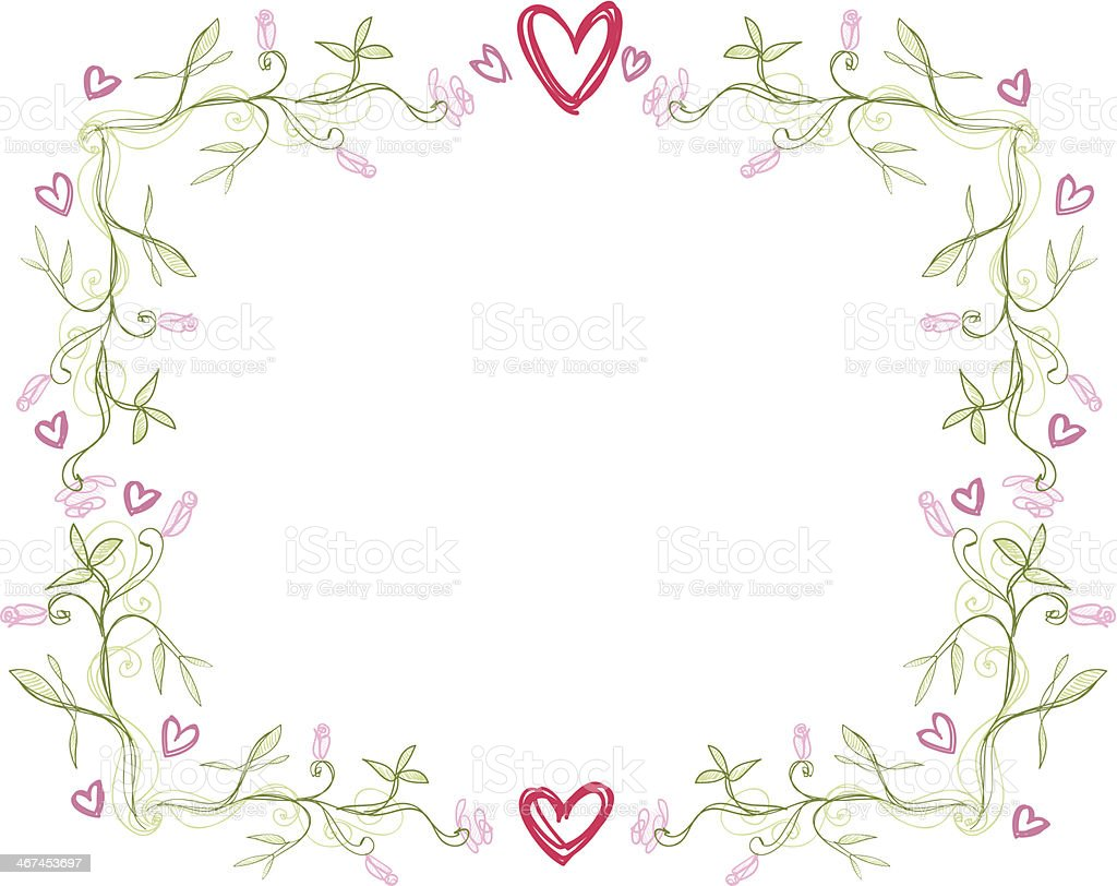 Frame with hearts for lovers vector art illustration