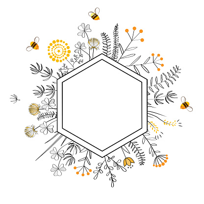 Frame with honey flowers and bees. Cartoon vector illustration