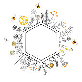 Hexagon Frame with cute honey flowers and bees. Cartoon vector illustration