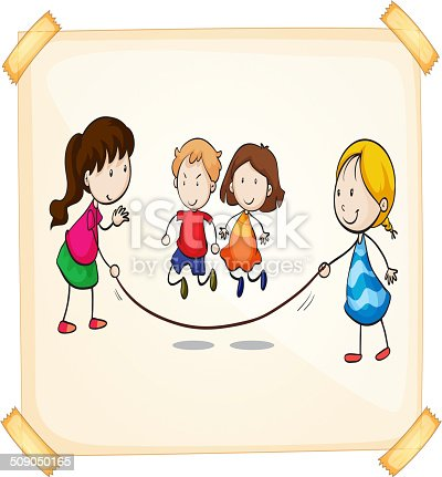 Illustration of a frame with kids playing on a white background
