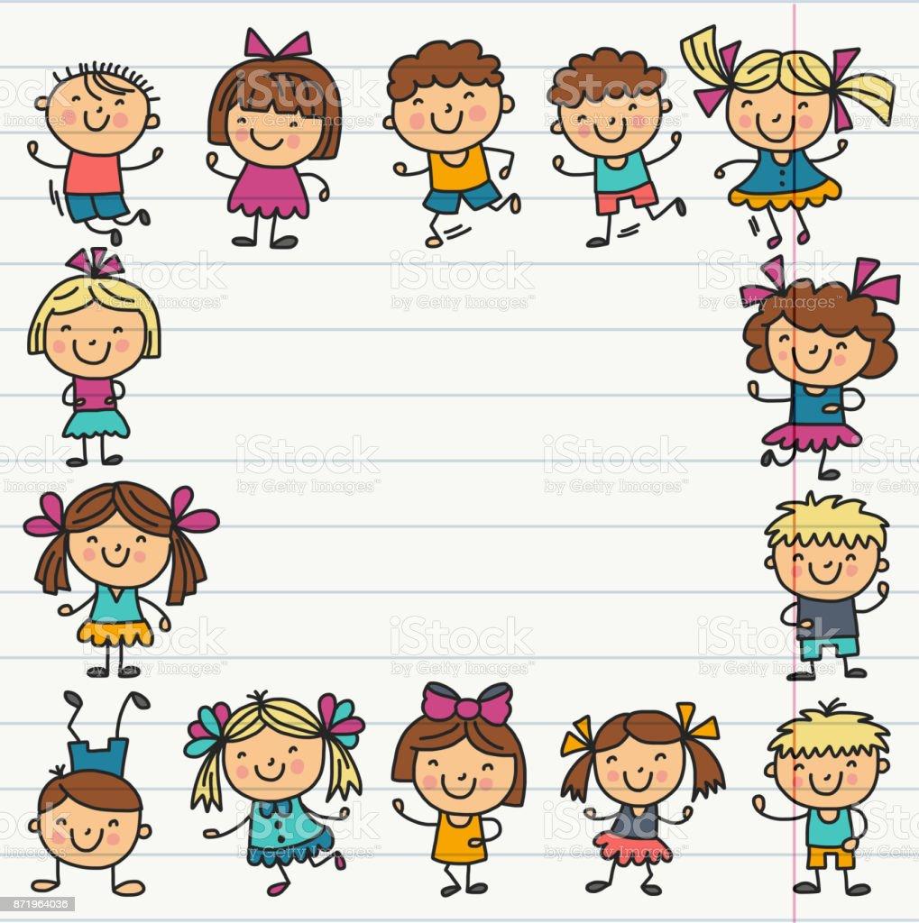 学校幼稚園の子供フレーム幸せな子供たち創造性想像力落書きアイコンの
