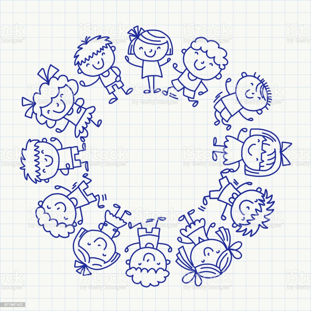 Rahmen Mit Kinder Schule Kindergarten Glückliche Kinder Kreativität ...