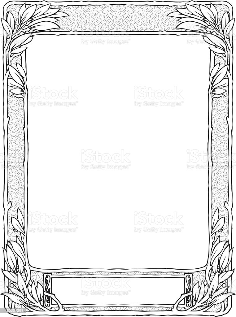 frame with laurel for portrait, black isolated vector art illustration