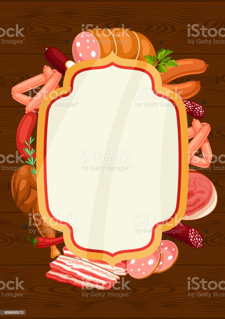 Frame with meat products. Illustration of sausages, bacon and ham vector art illustration