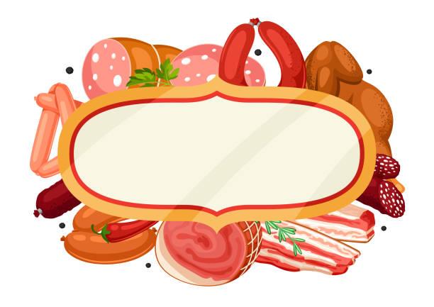 rahmen mit fleischprodukten. abbildung von würstchen, speck und schinken - schweinebauch stock-grafiken, -clipart, -cartoons und -symbole