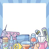 Frame with medicines and medical objects. Treatment of cold and flu.
