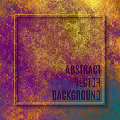 Frame with Multi Colored Watercolor Brush Stroke on Gold Foil Texture. Soft Pastel Grunge Texture. Multicolored Brush Stroke Clip Art. Metallic Blot Isolated. Elegant Texture Design Element for Greeting Cards and Labels, Abstract Background.