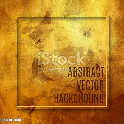 istock Frame with Multi Colored Watercolor Brush Stroke on Gold Foil Texture. Soft Pastel Grunge Texture. Multicolored Brush Stroke Clip Art. Metallic Blot Isolated. Elegant Texture Design Element for Greeting Cards and Labels, Abstract Background. 1284811335