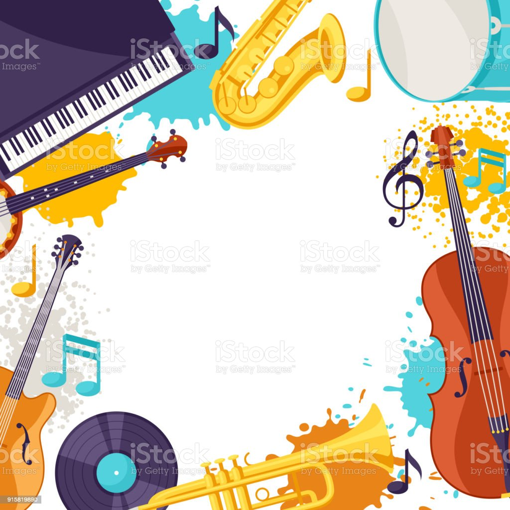 Frame With Musical Instruments Jazz Music Festival Background Stock ...