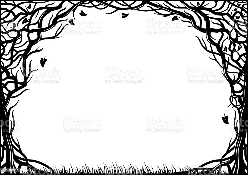 Frame With Natural Texture Of The Two Trees Stock Vector Art & More ...