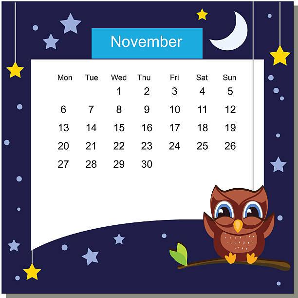 ilustrações, clipart, desenhos animados e ícones de frame with owl. calendar 2017. november. week starts monday - calendário de vida selvagem