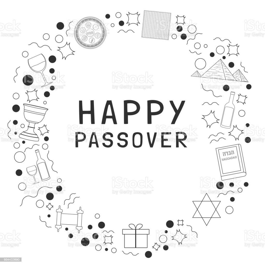 Frame With Passover Holiday Flat Design Black Thin Line Icons With