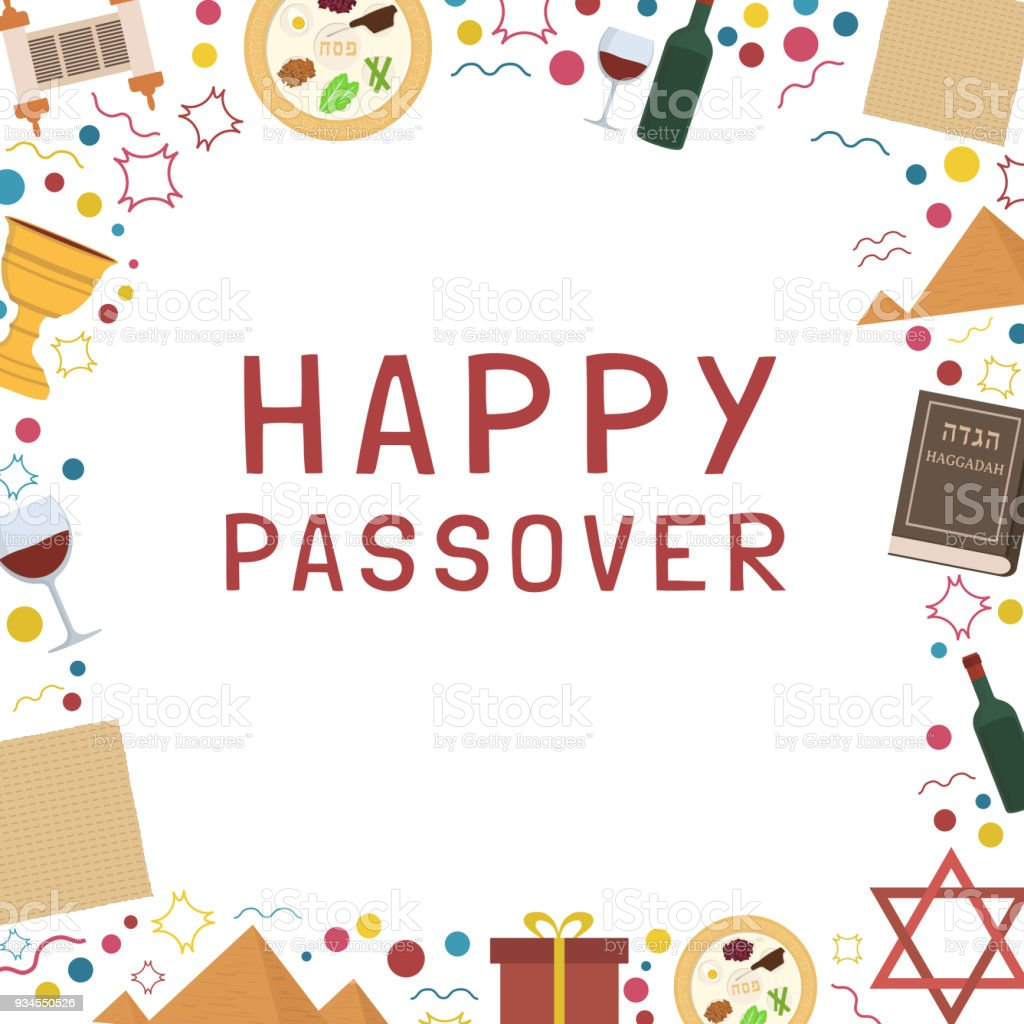 Frame With Passover Holiday Flat Design Icons With Text In English ...