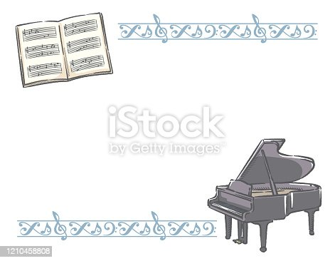 Frame with piano and decorative border. Vector illustration.