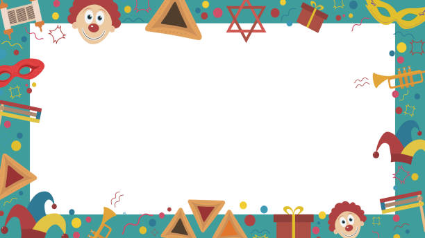 frame with purim holiday flat design icons - purim stock illustrations, clip art, cartoons, & icons