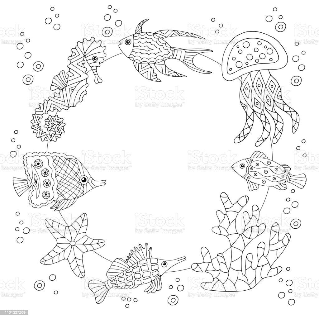 Ilustración De Marco Con Peces De Mar Página Para Colorear Y