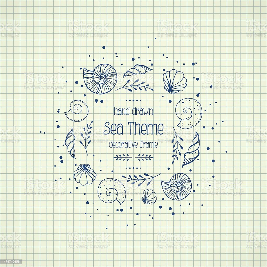 Frame with seashells in sketch style on paper vector art illustration