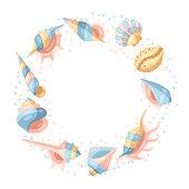 Frame with seashells. Tropical underwater mollusk shells decorative illustration.