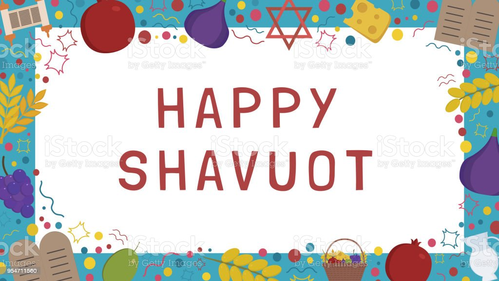 Frame With Shavuot Holiday Flat Design Icons With Text In English ...