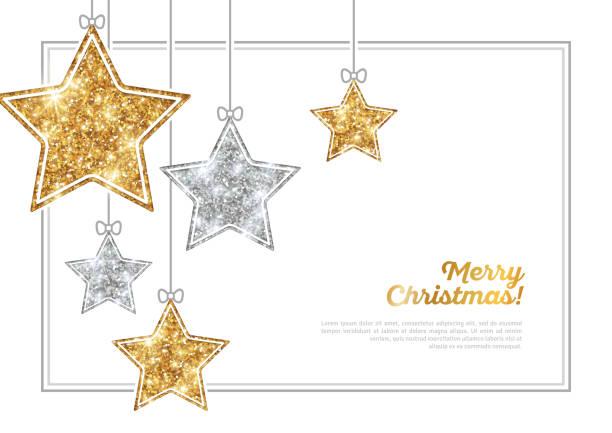 bildbanksillustrationer, clip art samt tecknat material och ikoner med ram med silver och guld hängande stjärnor - christmas decoration golden star