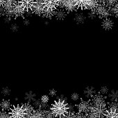 Frame with small snowflakes layered
