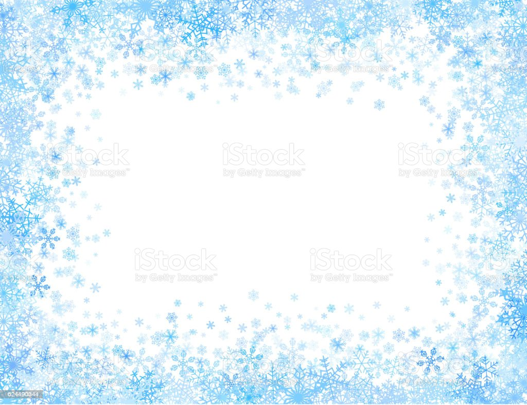 Frame with small snowflakes vector art illustration