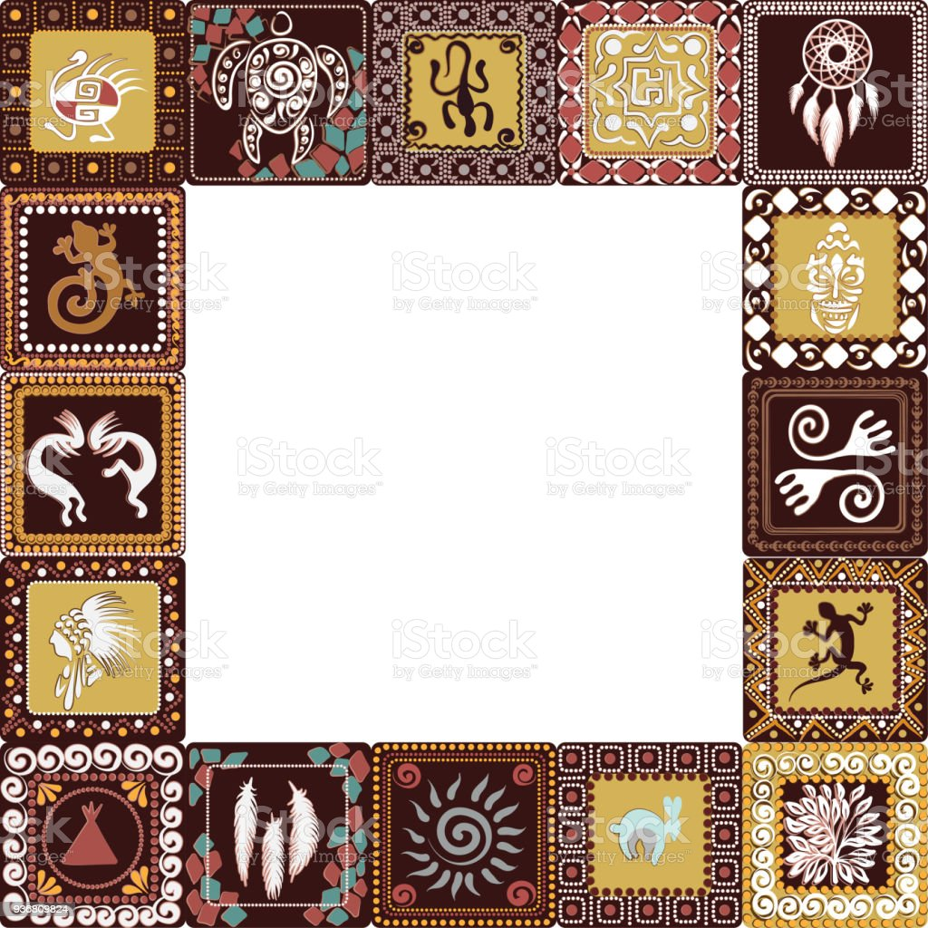 Frame With Squares Pattern With Imitation Of Elements Of Rock Art Of ...