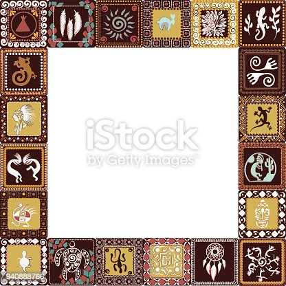 Frame with squares pattern with imitation of elements of rock art of ancient Indians, Aztecs, cavemen