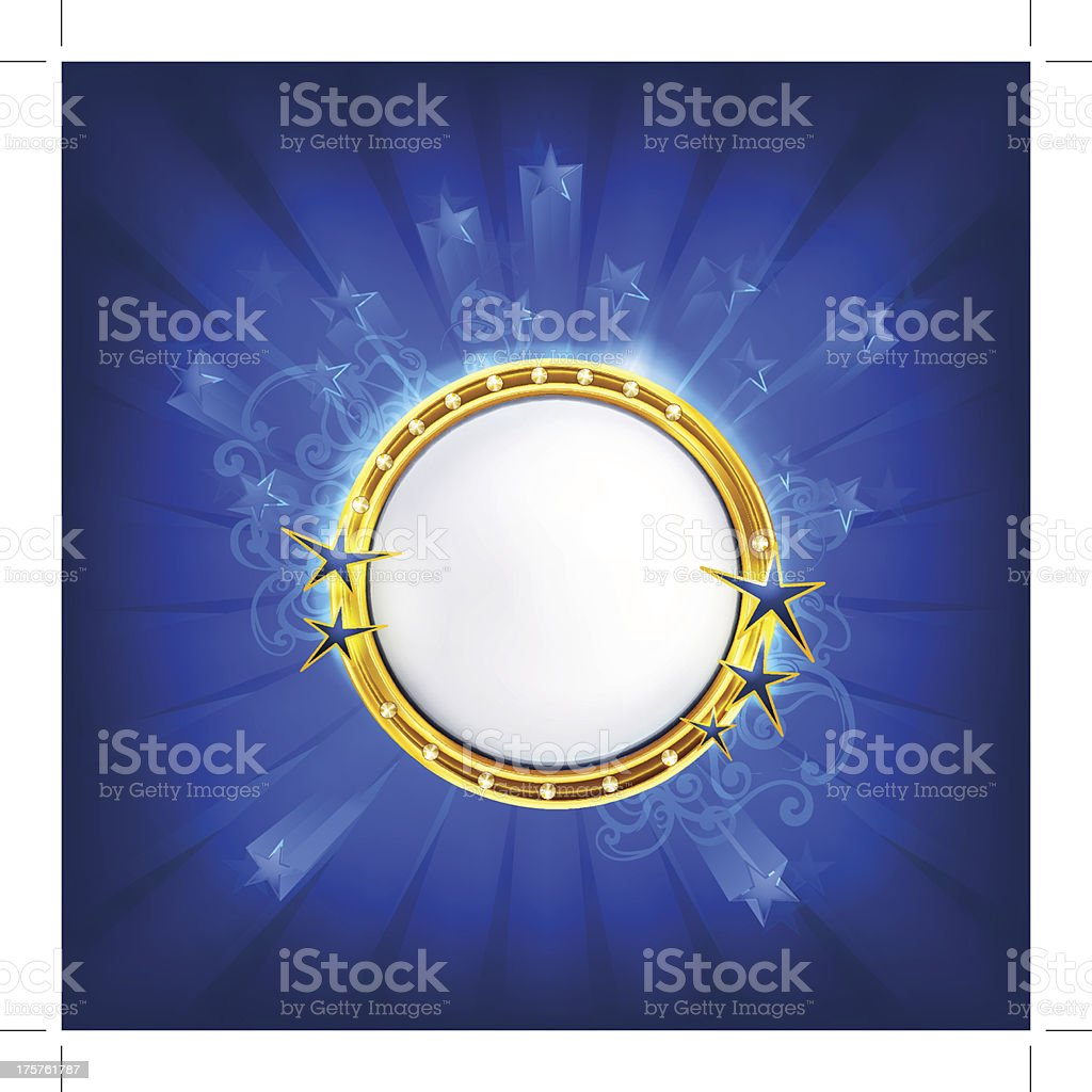 Frame with stars on blue royalty-free stock vector art