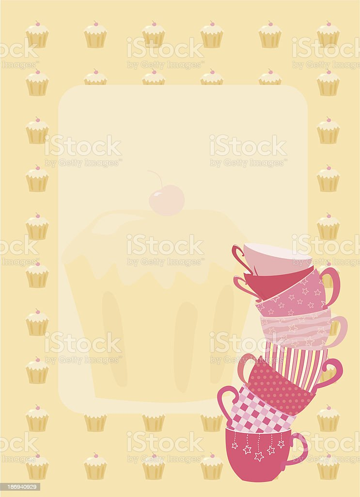 frame with teacup and cupcakes royalty-free stock vector art