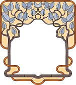 Frame with tree branch and leaves