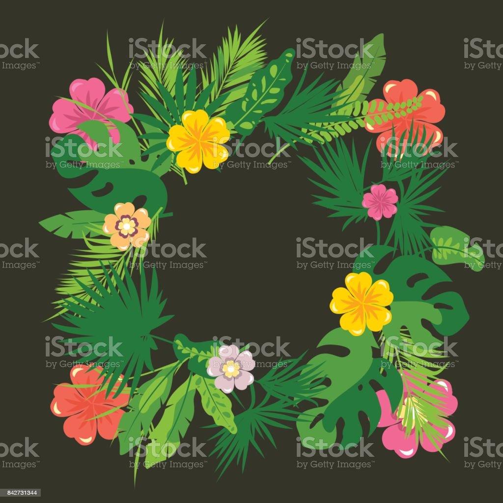 Rahmen Mit Tropischen Dschungel Blätter Stock Vektor Art und mehr ...