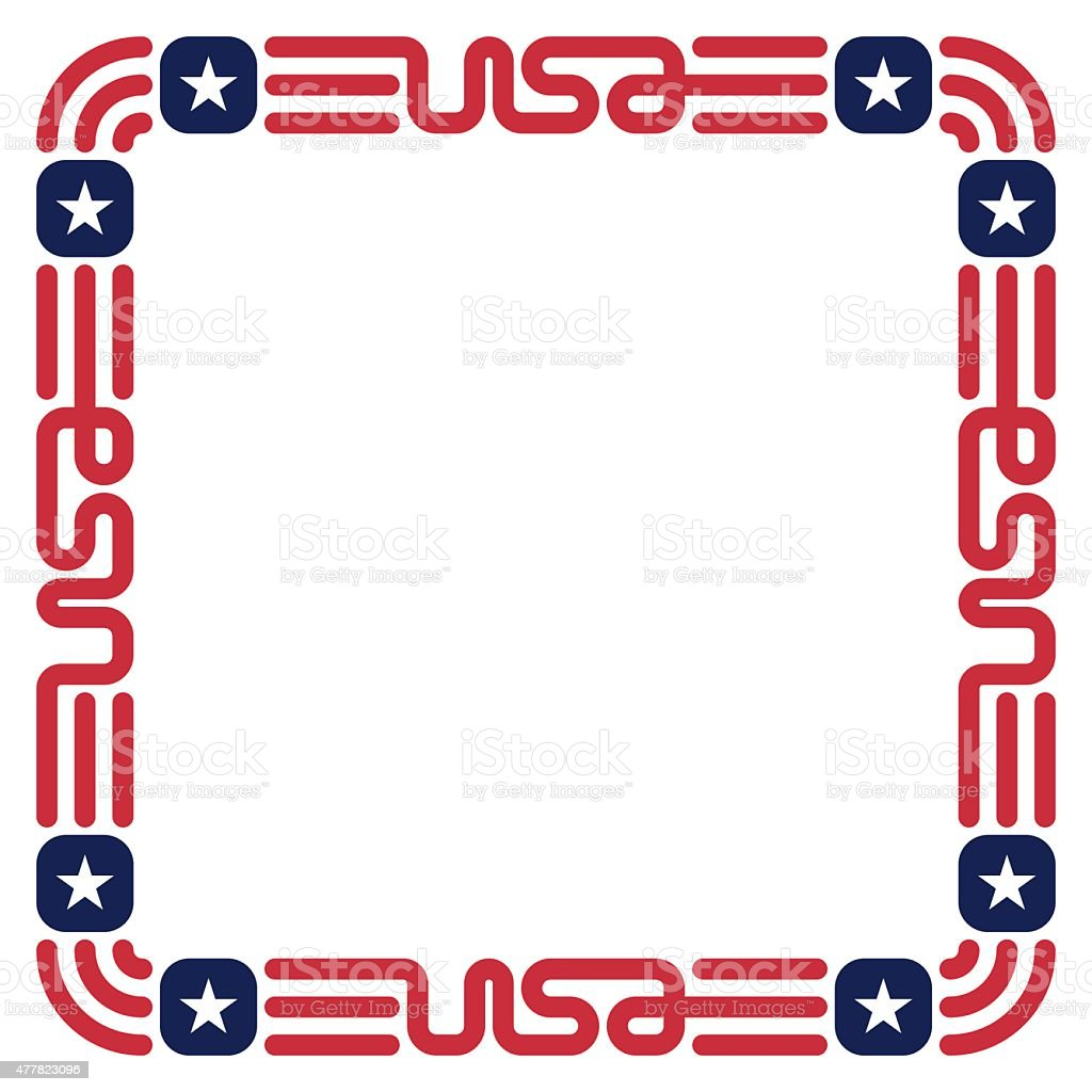 Frame With Usa Flag Colors And Symbols For Invitation Stock Vector