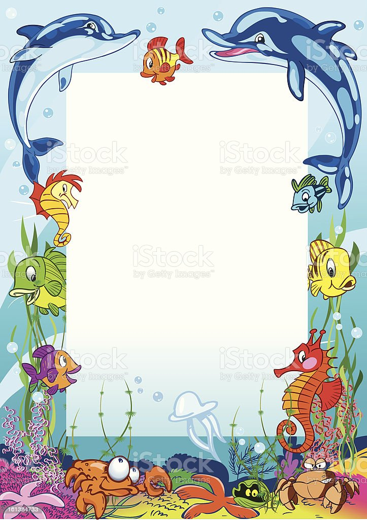 Frame with various sea animals royalty-free stock vector art