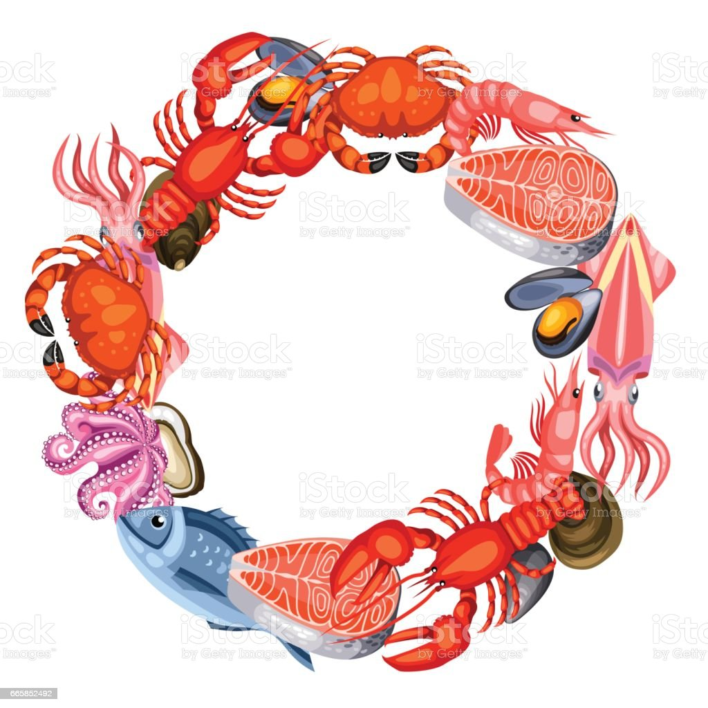 frame with various seafood illustration of fish shellfish and rh istockphoto com Clam Clip Art Cartoon Shellfish