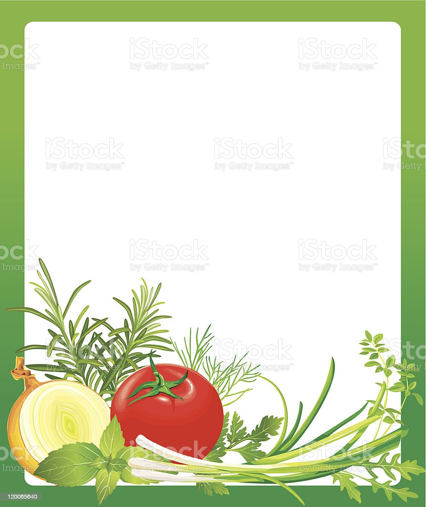 Frame with vegetables and herbs royalty-free stock vector art