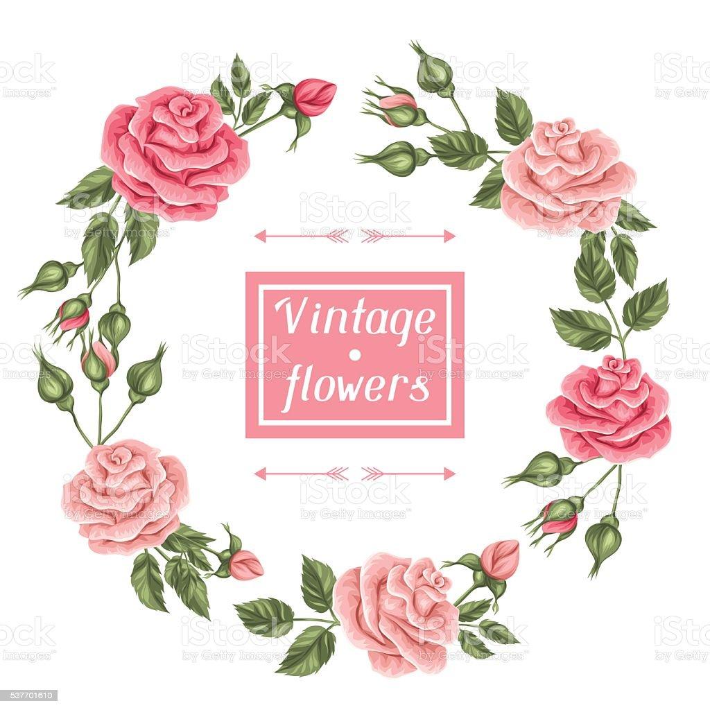 frame with vintage roses decorative retro flowers image. Black Bedroom Furniture Sets. Home Design Ideas