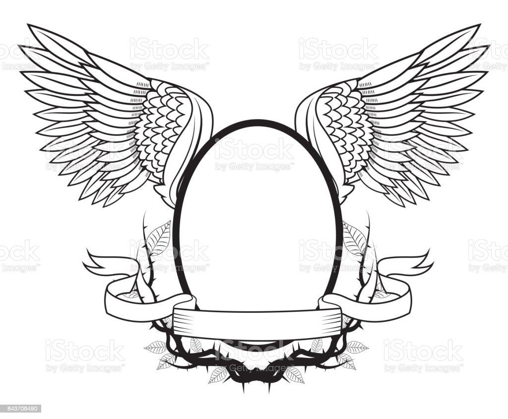 Rahmen Mit Flügeltattookunstdesign Stock Vektor Art und mehr Bilder ...