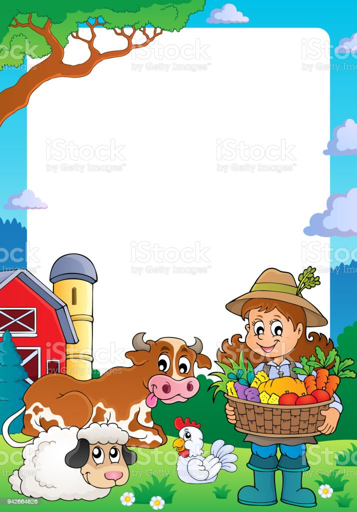 Frame With Woman Farmer And Animals Stock Vector Art & More Images ...