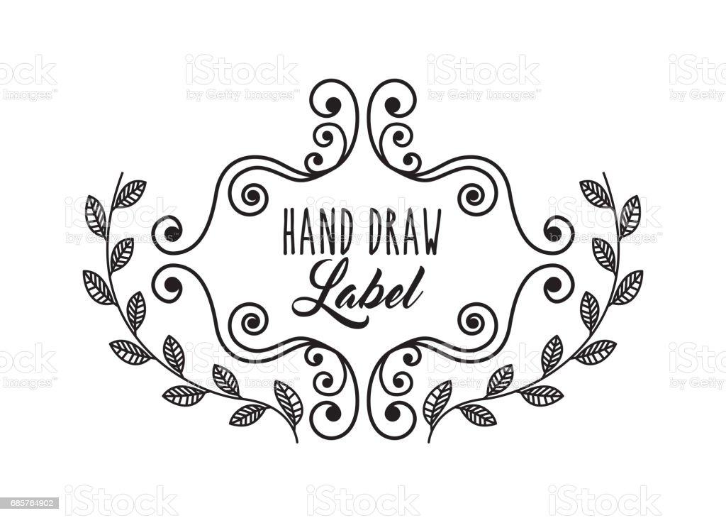 Frame with wreath icon. Hand draw label design. Vector graphic frame with wreath icon hand draw label design vector graphic - stockowe grafiki wektorowe i więcej obrazów bukiet royalty-free