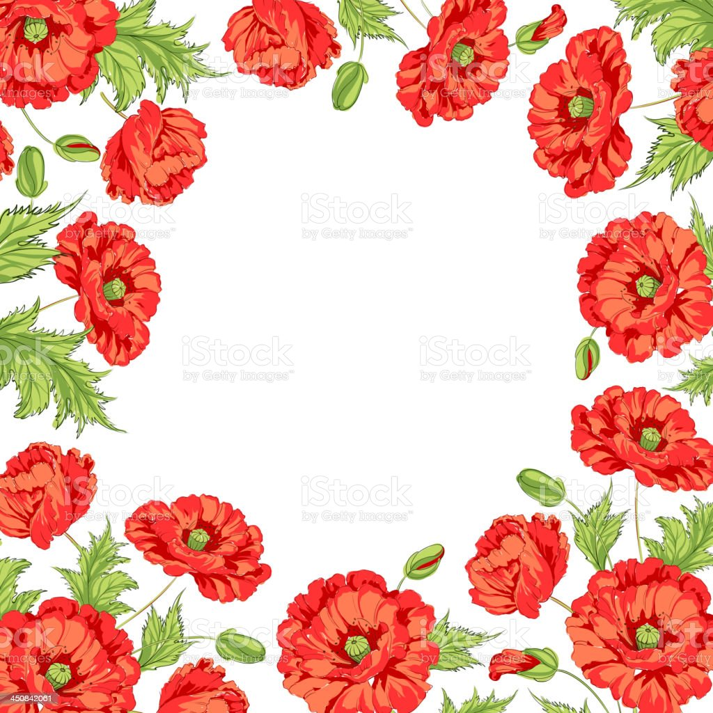Frame with wreath of poppies vector art illustration