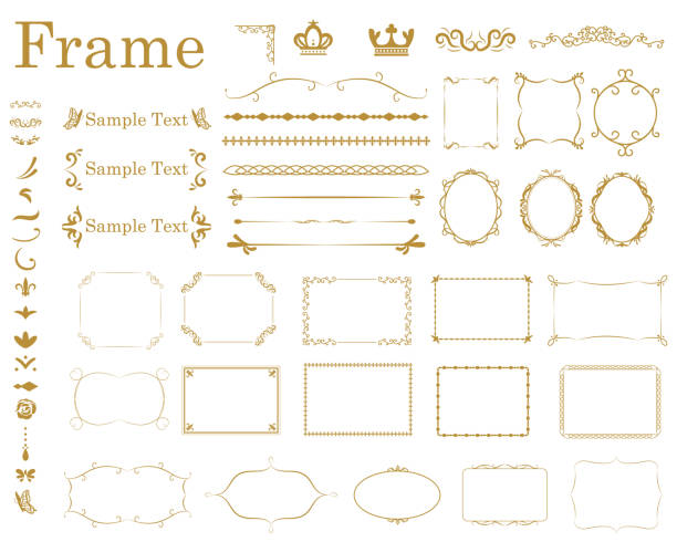 frame1 - retro and vintage frames stock illustrations, clip art, cartoons, & icons