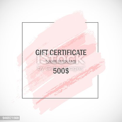 Vector gift certificate template. Pink artistic banner. Vector handmade frame. Design abstract element