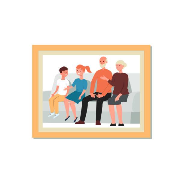 祖父母と孫の額入りの漫画の家族の肖像画 - 家族写真点のイラスト素材/クリップアート素材/マンガ素材/アイコン素材